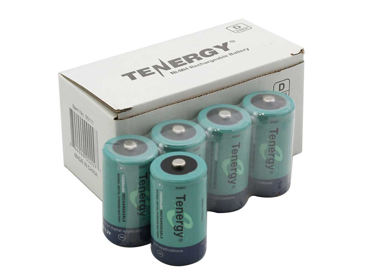 Tenergy 10100 D-cell 10000mAh 1.2V Nickel Metal Hydride (NiMH) Button Top Battery (10100) - Bulk