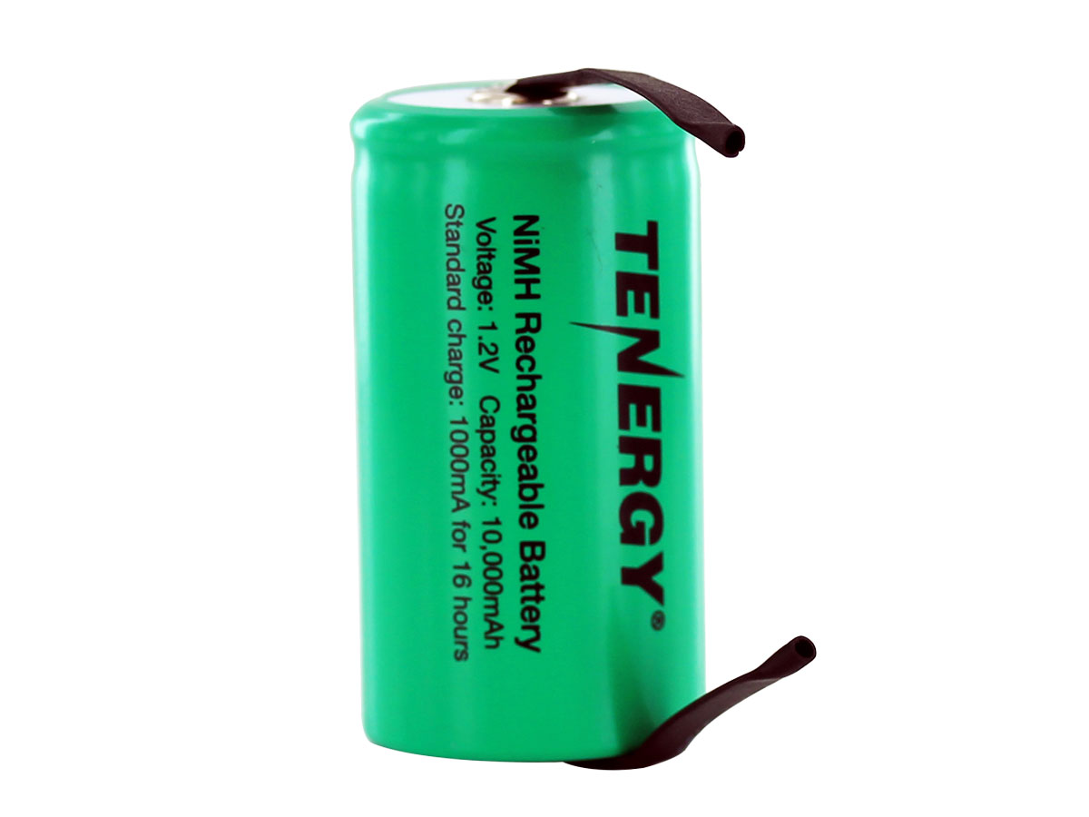 Tenergy 10103-D-cell 10000mAh 1.2V 10A Nickel Metal Hydride (NiMH) Battery with Tabs for Building Packs