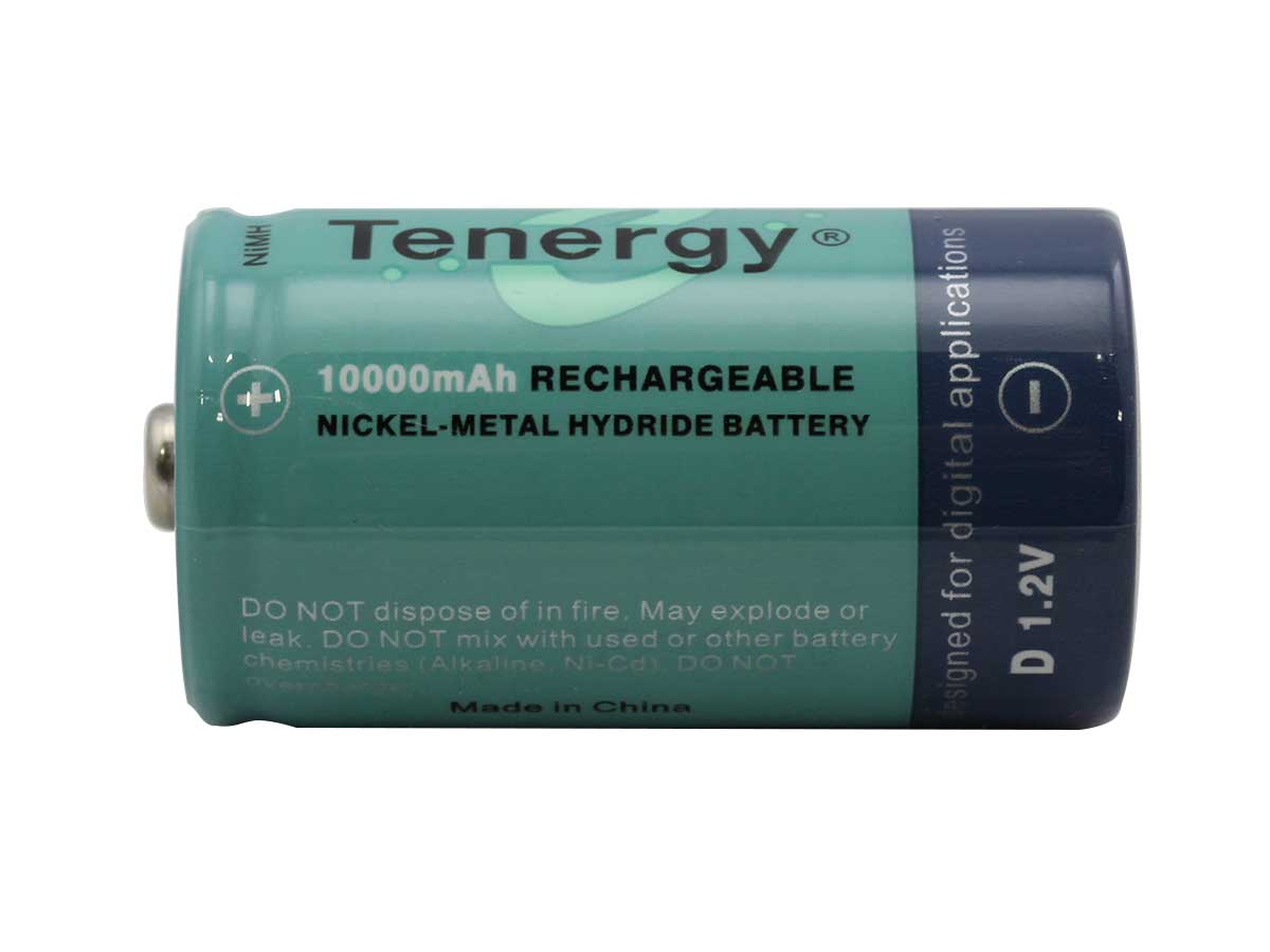 Tenergy 10100 D-cell (4PK) 10000mAh 1.2V Nickel Metal Hydride (NiMH) Button Top Batteries - Shrink Pack of 4