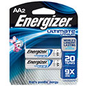 Energizer Ultimate L91-BP-2 AA 3000mAh 1.5V High Energy 5A Lithium (LiFeS2) Button Top Batteries - 2 Piece Retail Card