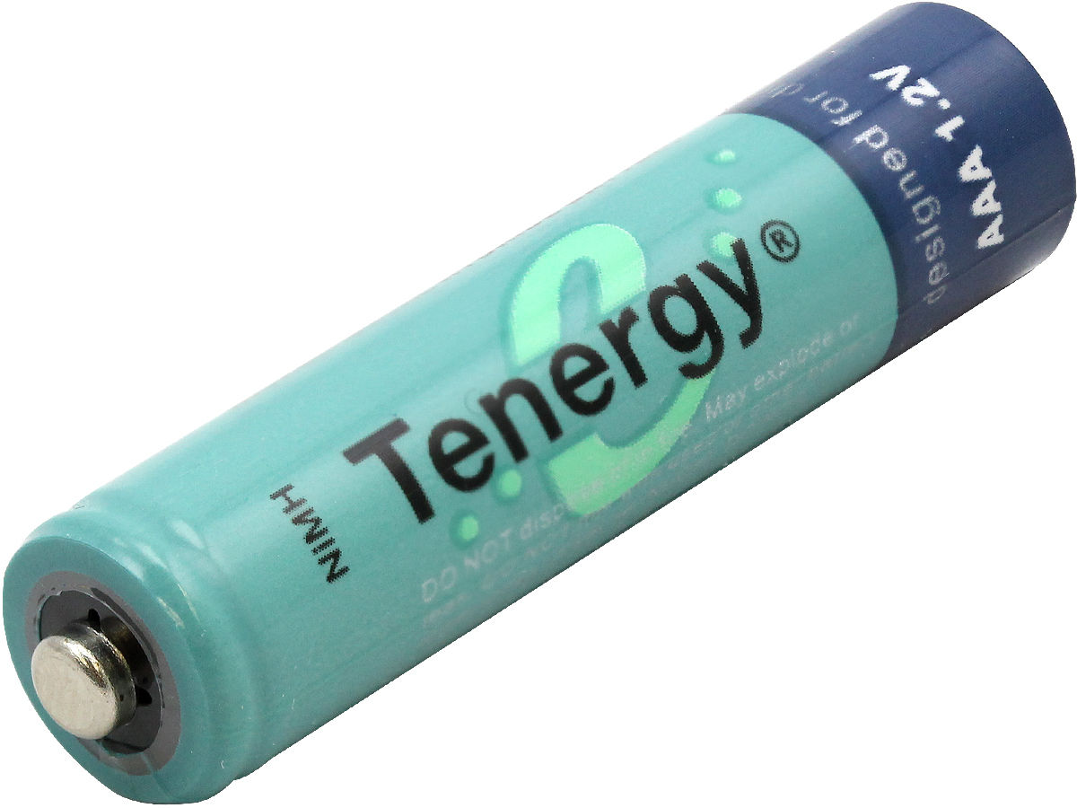 Tenergy 10400 AAA (12PK) 1000mAh 1.2V Nickel Metal Hydride (NiMH) Button Top Batteries - 12-Pack