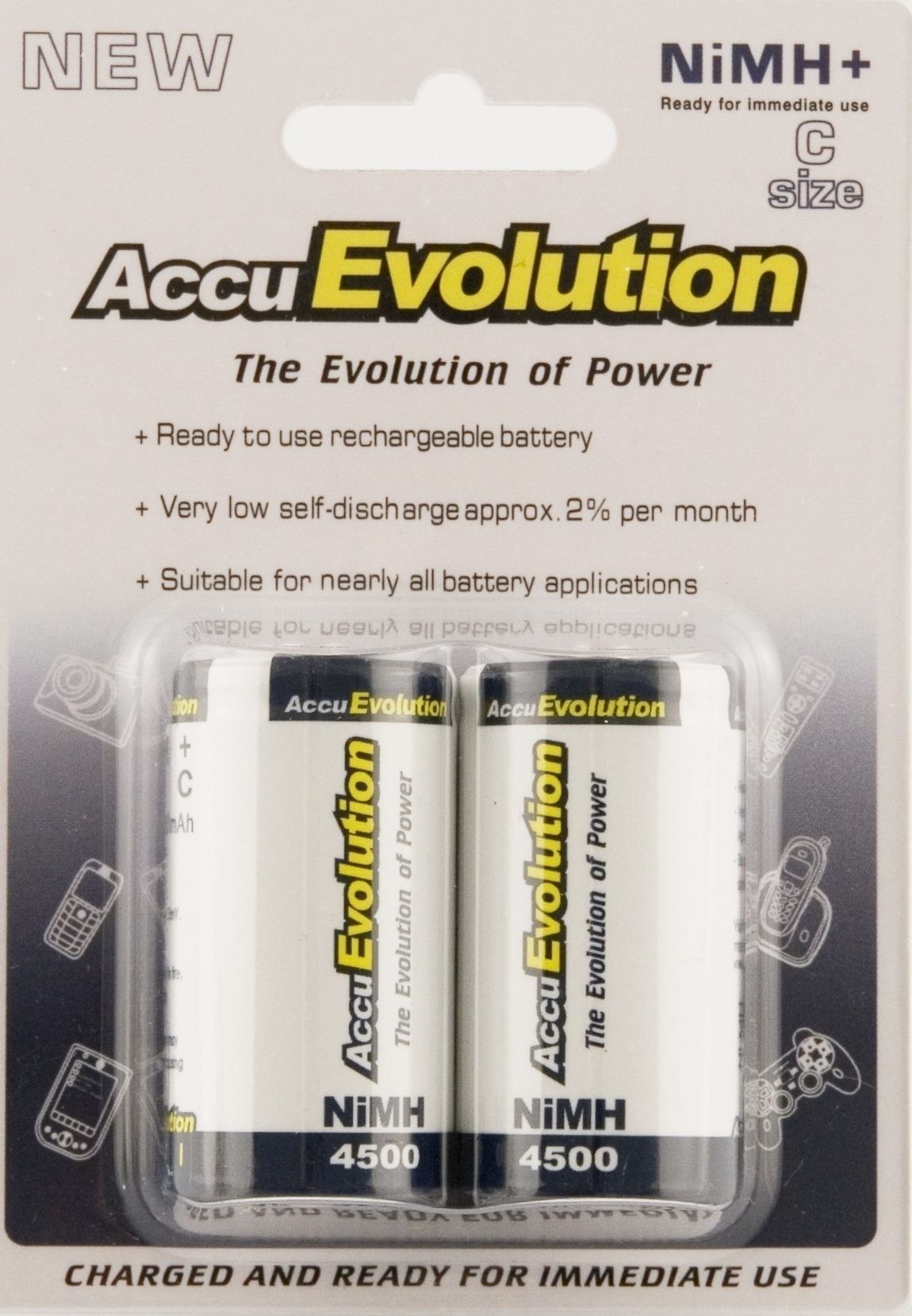 AccuEvolution C Cell 4500 NiMH Rechargeable Battery, 2 Pack