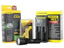 Nitecore Chameleon CG6 Green Tactical Flashlight Combo - CREE XM-L2 and CREE XP-G2 R5 - 440 Lumens - With Battery and Charger