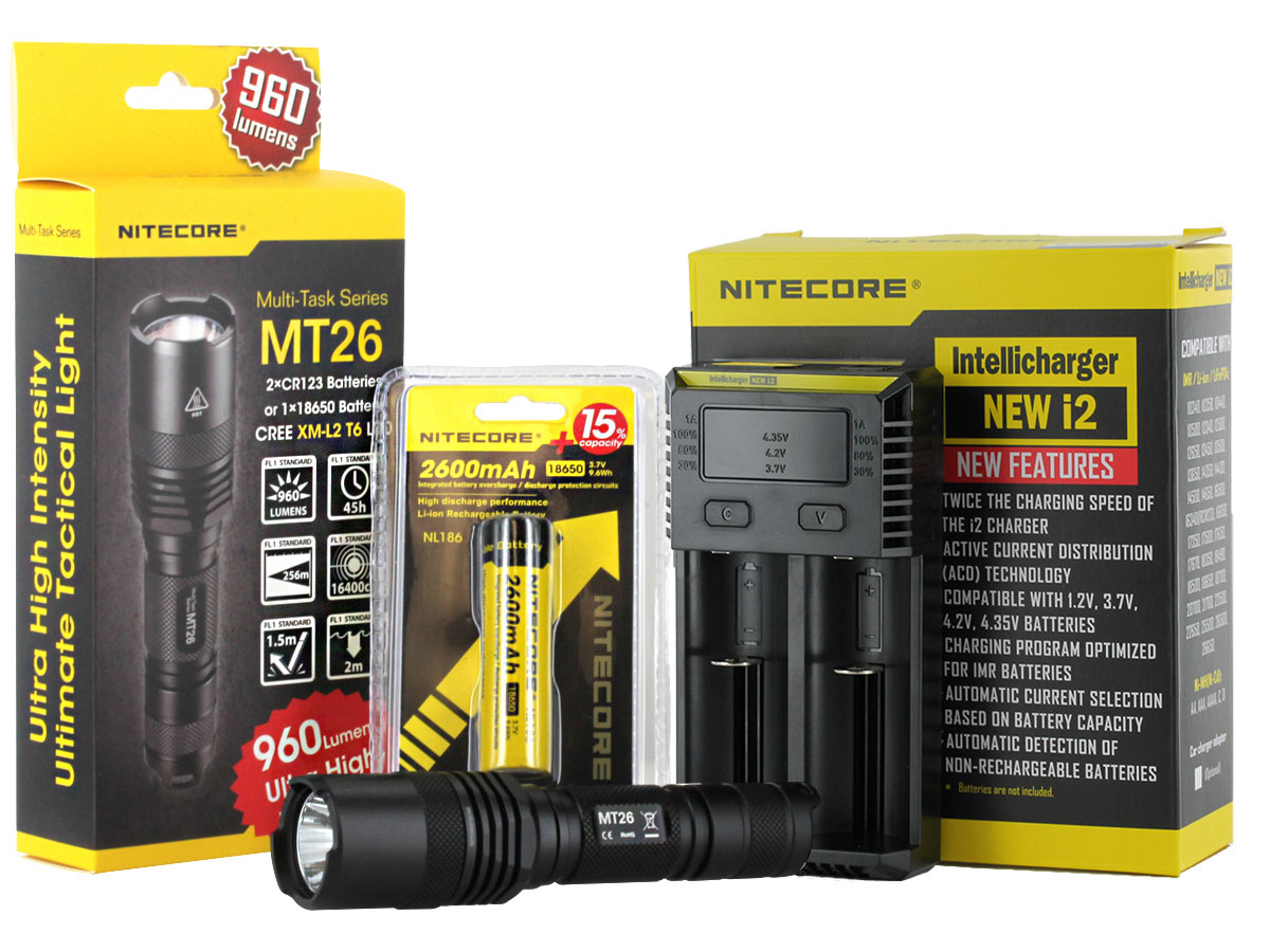 Nitecore MT26 Tactical Flashlight Combo - CREE XM-L2 U2 LED - 960 Lumens - With Battery and Charger