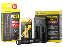 BUNDLE: Nitecore P12GT Tactical Flashlight Combo - CREE XP-L HI V3 LED - 1000 Lumens - with Battery and Charger