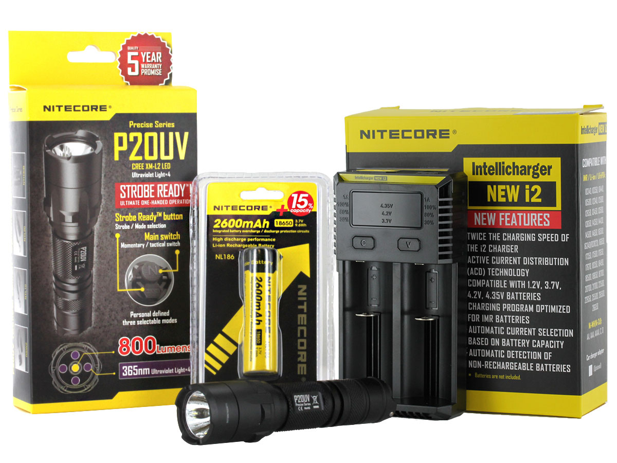 Nitecore P20UV Ultraviolet Flashlight Combo