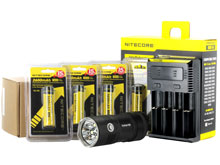 Nitecore TM06 Tiny Monster Flashlight Combo -  4 x CREE XM-L2 U2 LED - 3800 Lumens - With Batteries and Charger -