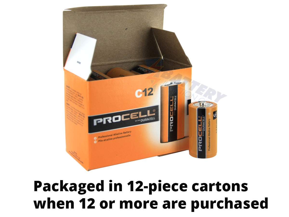 Duracell Procell PC1400 C-cell 1.5V Alkaline Button Top Battery - Contractor Pack, Priced Per Cell