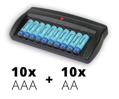 CH-V6988 Charger 110V with 10 AA 2600mAh Cells and 10 AAA 1000mAh Cells