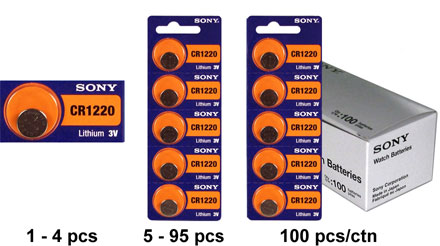 Sony CR1220 40mAh 3V Lithium (LiMnO2) Coin Cell Watch Battery - 1 Piece Tear Strip, Sold Individually