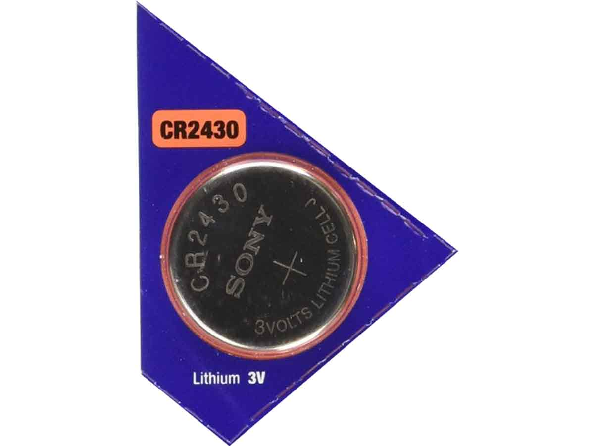 Sony CR2430 280mAh 3V Lithium (LiMnO2) Coin Cell Watch Battery - 1 Piece Tear Strip, Sold Individually