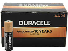 Duracell Duralock MN1500 (24PK) AA 1.5V Alkaline Button Top Batteries - Made in the USA - Box of 24