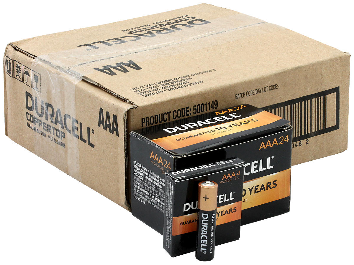 Duracell Duralock MN2400 AAA 1.5V Alkaline Button Top Battery - Made in the USA - Boxed
