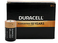 Duracell Duralock MN1300 (12PK) D-cell Alkaline Button Top Batteries - Made in the USA - Box of 12