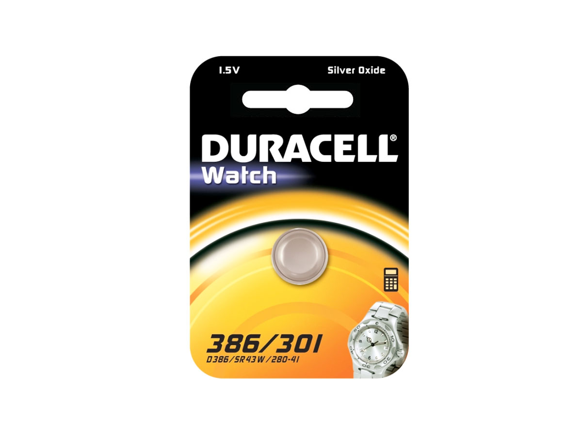 Duracell D301/386 1.55V Silver Oxide Watch/Electronic Button Cell Battery - 1pk (D301-386PK)