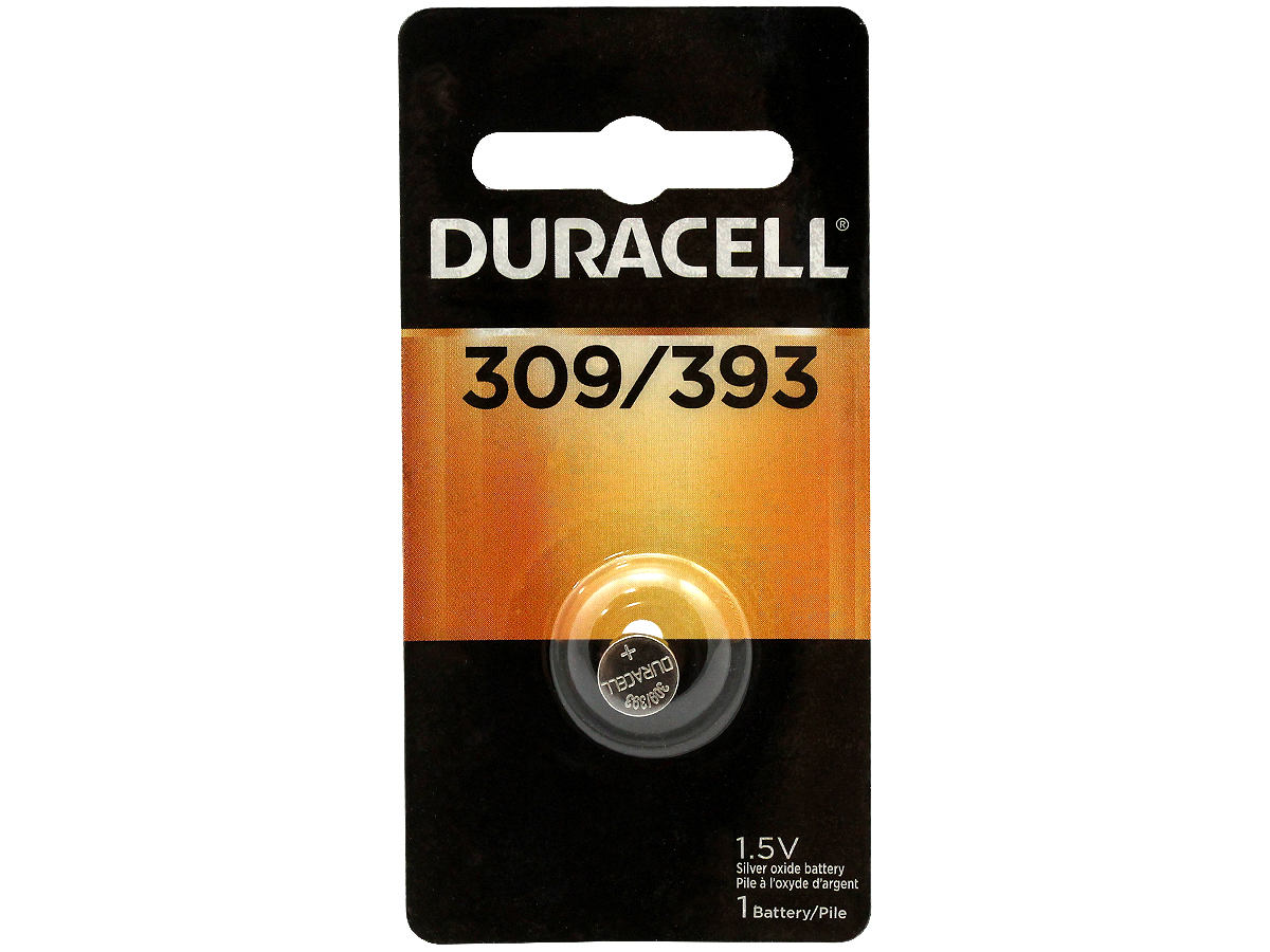 Duracell D309/393 70mAh 1.5V Silver Oxide Watch/Electronic Button Cell Battery (D309-393PK) - 1 Piece Retail Card