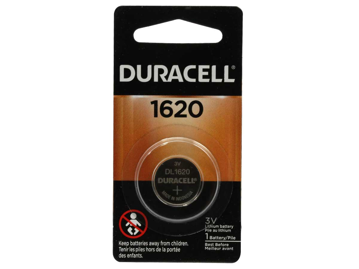 Duracell Duralock DL CR1620 75mAh 3V Lithium (LiMNO2) Watch/Electronic Coin Cell Battery - 1 Piece Retail Card