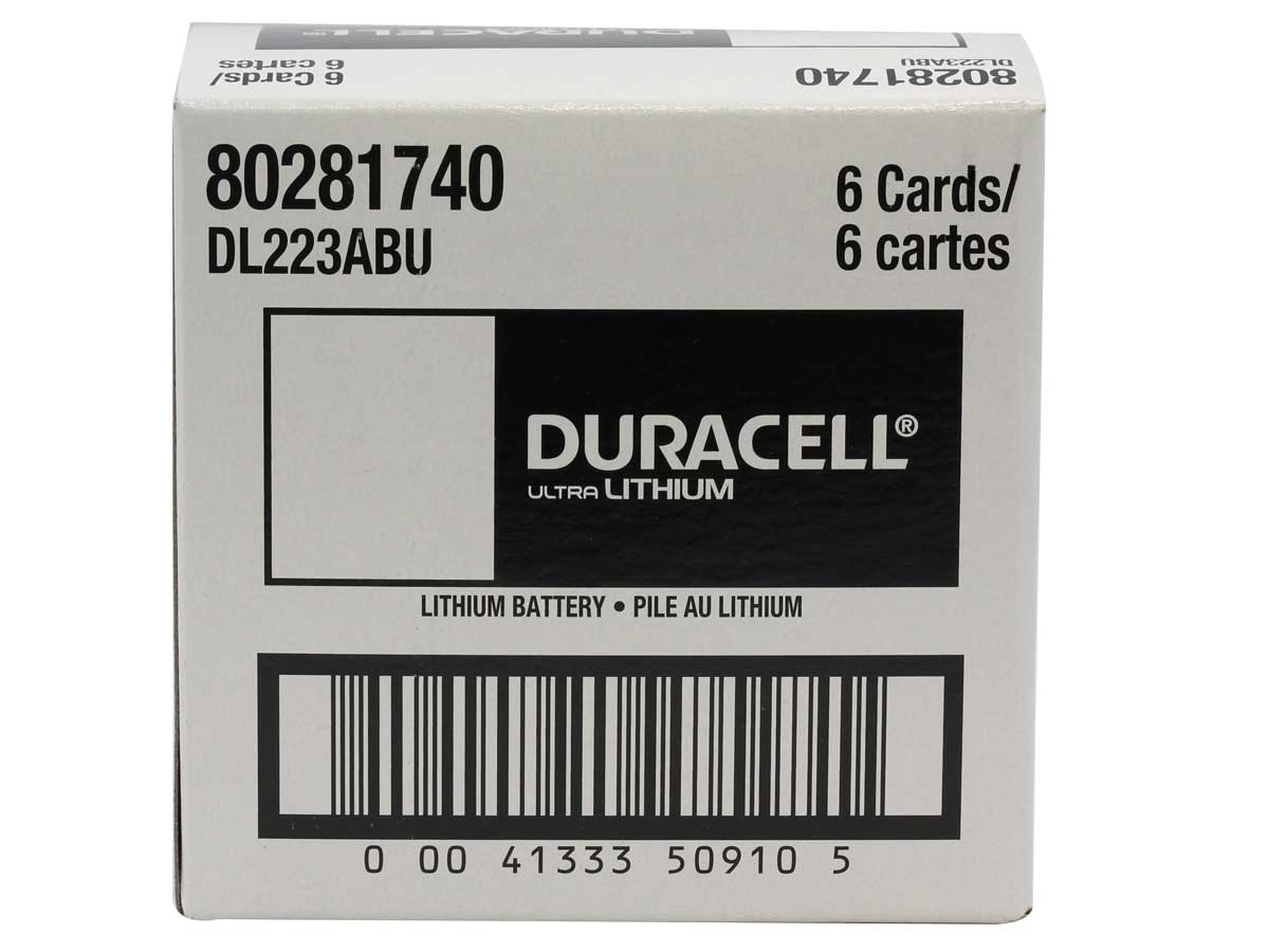 Duracell Ultra DL 223 CR-P2 1400mAh 6V Lithium  (LiMNO2) Photo Battery - 1 Piece Retail Card
