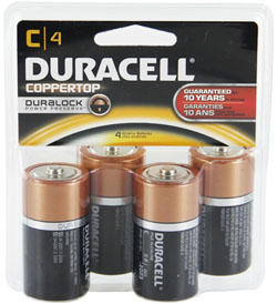Duracell Duralock MN1400-R4 C-cell 1.5V Alkaline Button Top Batteries - 4 Piece Clam Shell