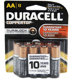Duracell Duralock MN1500-B8 AA LR6 1.5V Alkaline Button Top Batteries - 8 Piece Retail Card