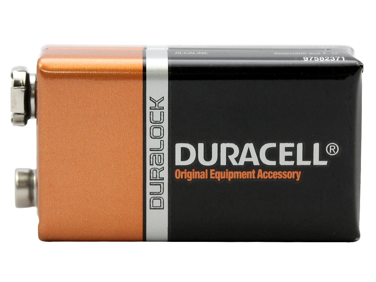 Duracell Duralock MN1604-B1 9V 6LR61 Alkaline Battery with Snap Connectors - 1 Piece Retail Card
