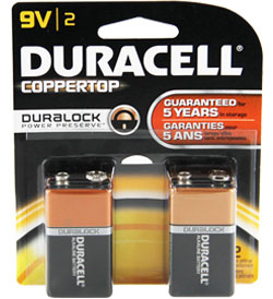 Duracell Duralock MN1604-B2 9V 6LR61 Alkaline Battery with Snap Connectors - 2 Piece Retail Card