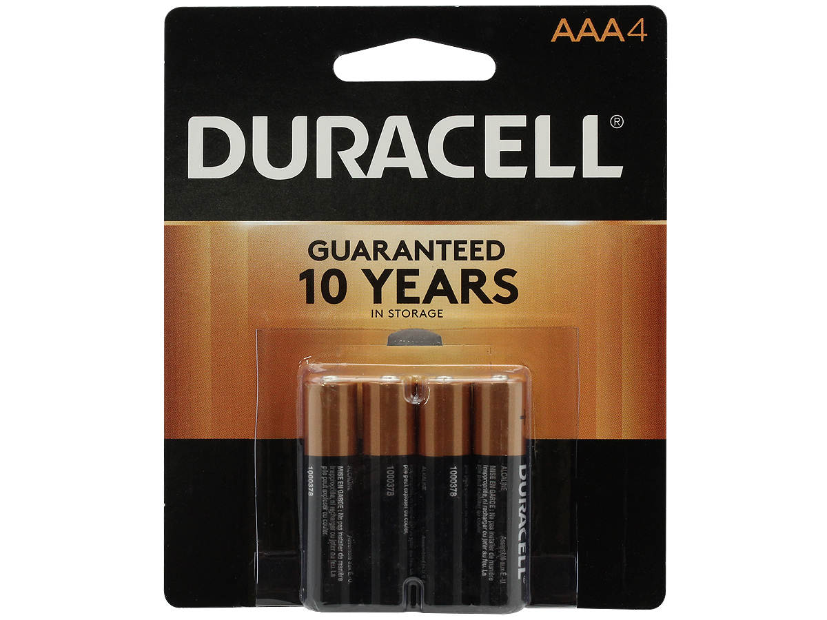 Duracell Duralock MN2400-B4 AAA LR03 1.5V Alkaline Button Top Batteries - 4 Piece Retail Card
