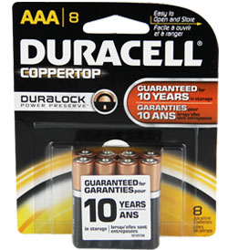 Duracell Duralock MN2400-B8 AAA LR03 1.5V Alkaline Button Top Batteries - 8 Piece Retail Card