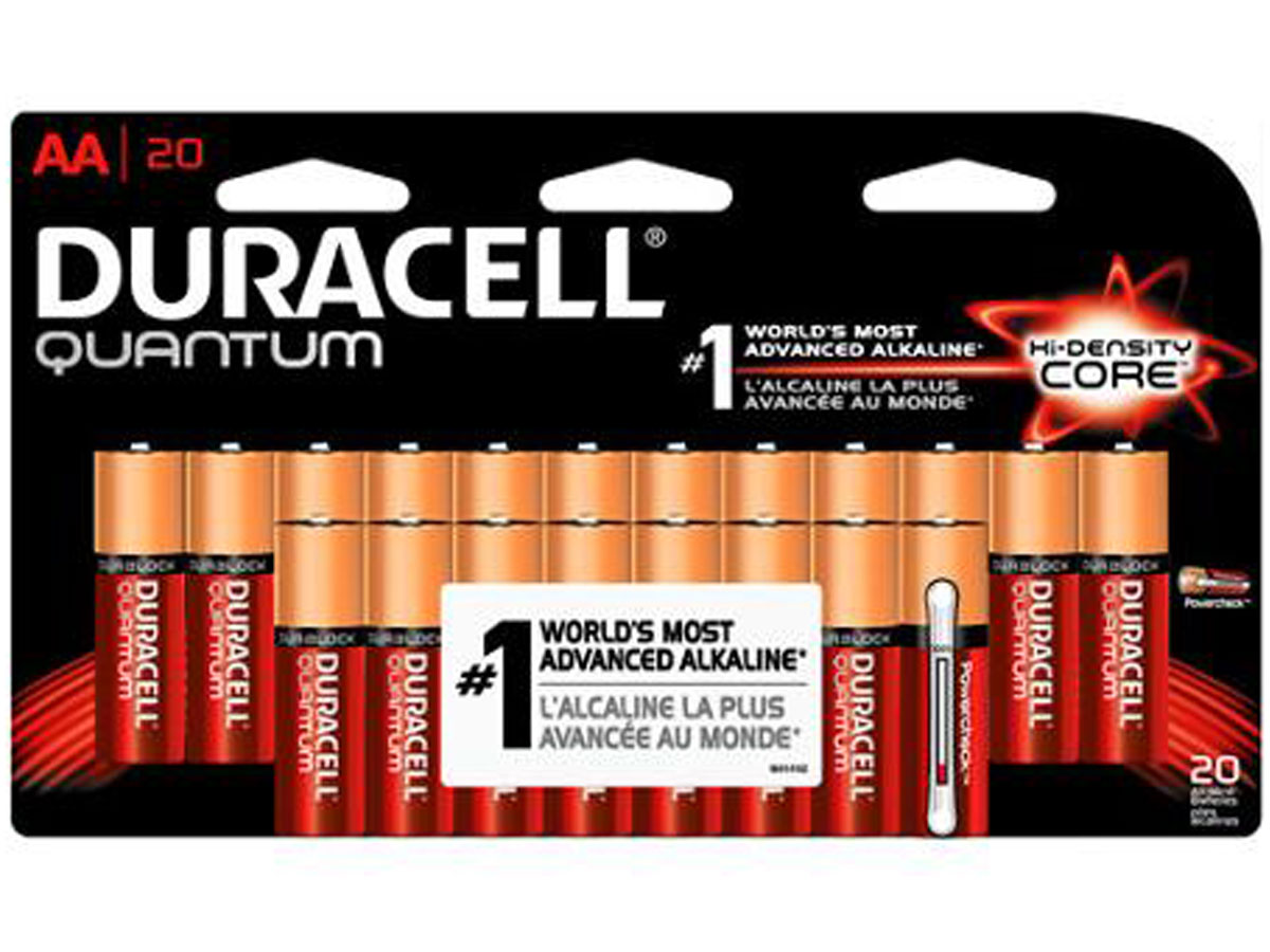 Duracell Quantum QU1500-B20Z10 AA 1.5V Alkaline Button Top Batteries - 20 Piece Retail Card