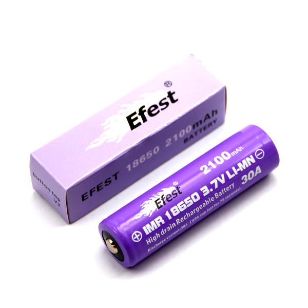 Efest IMR 18650 2100mAh 3.7V Unprotected Lithium Manganese (LiMn2O4) Button (4144) or Flat Top (4064) Battery - Boxed