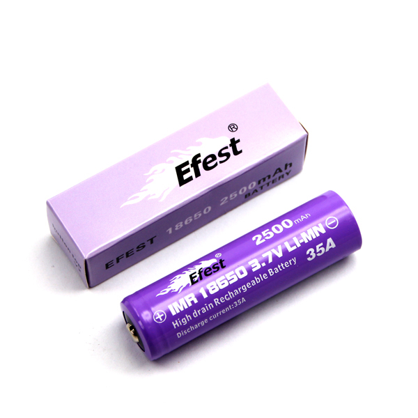 Efest IMR 18650 2500mAh 3.7V Unprotected Lithium Manganese (LiMn2O4) Button (4153) or Flat Top (4066) Battery - Boxed