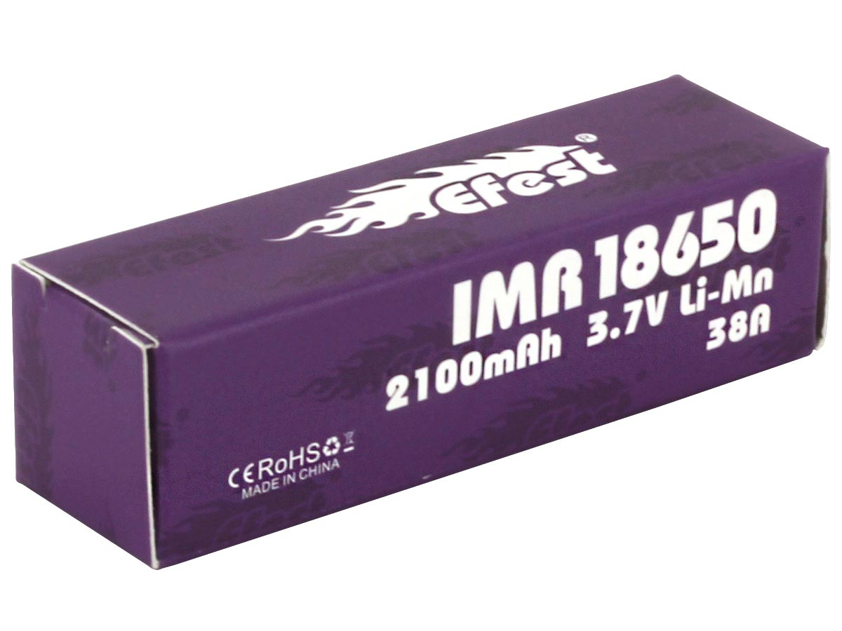 Efest Purple 4334 IMR 18650 2100mAh 3.7V Unprotected High-Drain 38A Lithium Manganese (LiMn2O4) Flat Top Battery - Boxed