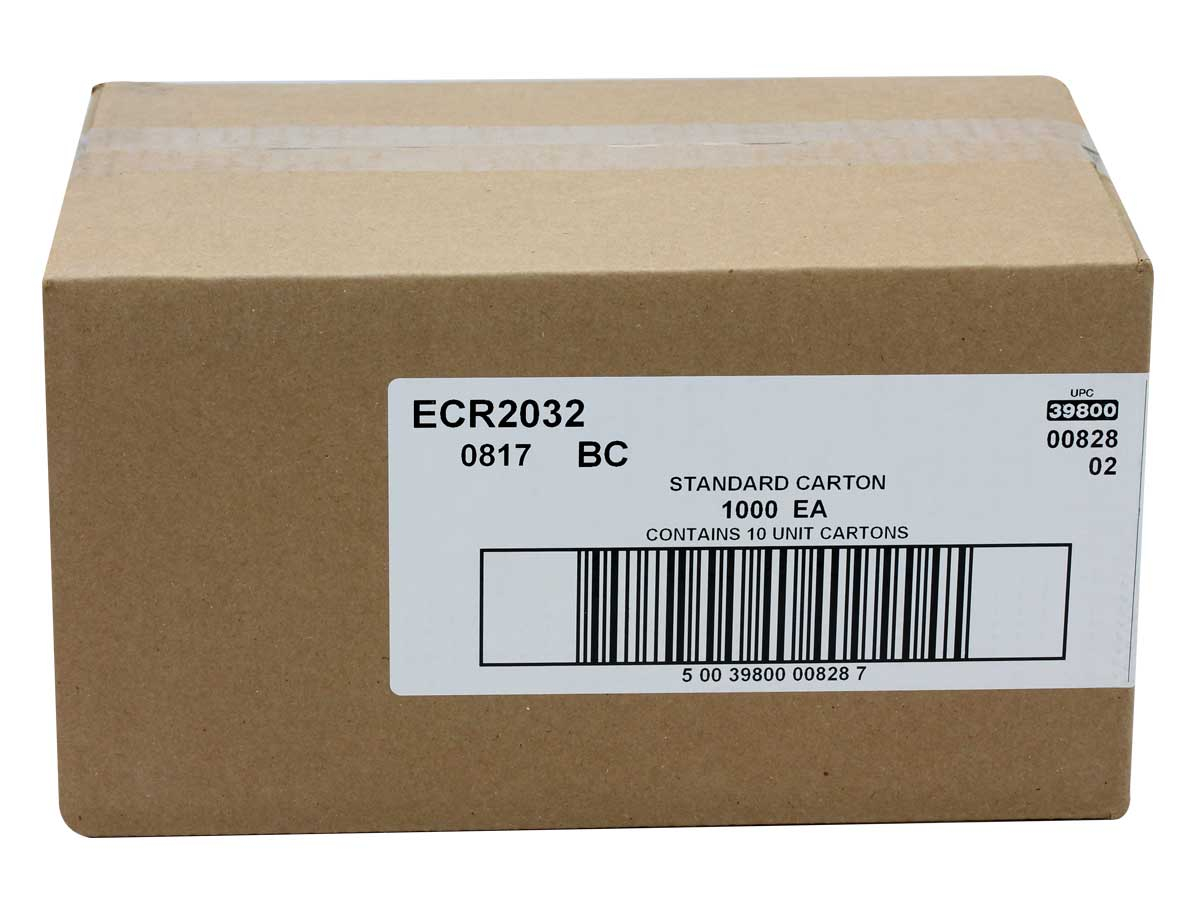 Energizer CR2032 batteries in a brown bulk box
