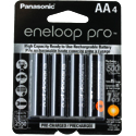 Panasonic Eneloop Pro BK-3HCCA-4BA AA 2550mAh 1.2V Low Self Discharge Nickel Metal Hydride (NiMH) Button Top Batteries - 4 Pack Retail Card