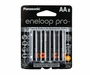 Panasonic Eneloop Pro BK-3HCCA-8BA AA 2550mAh 1.2V Low Self Discharge Nickel Metal Hydride (NiMH) Button Top Batteries - 8 Pack Retail Card