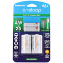 Panasonic Eneloop K-KJS1MCA-2BA AA 2000mAh 1.2V Low Self Discharge Nickel Metal Hydride (NiMH) Button Top Batteries with D Cell Spacers - 2 Pack Retail Card
