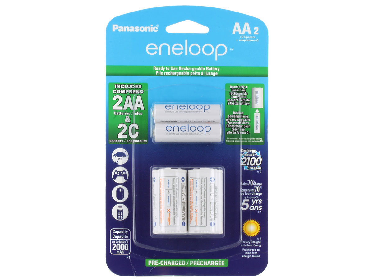 Panasonic Eneloop K-KJS2MCA-2BA AA 2000mAh 1.2V Low Self Discharge Nickel Metal Hydride (NiMH) Button Top Batteries with C Cell Spacers - 2 Pack Retail Card