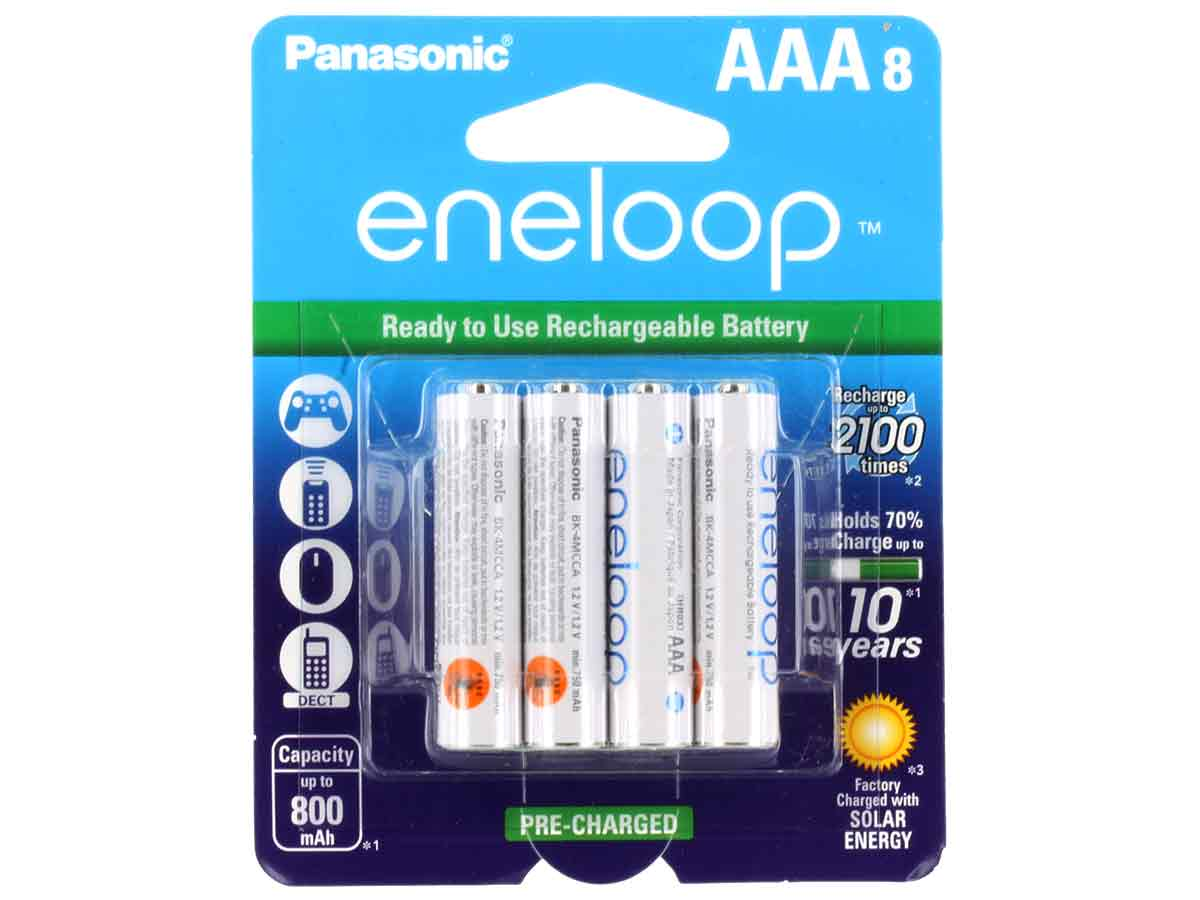 Panasonic Eneloop BK-4MCCA-8BA AAA 800mAh 1.2V Low Self Discharge Nickel Metal Hydride (NiMH) Button Top Batteries - 8 Pack Retail Card