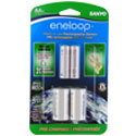 Sanyo Eneloop SEC-NCS-C2AAN AA 2000mAh 1.2V Nickel Metal Hydride (NiMH) Button Top Batteries with C Cell Spacers - 2 Pack Retail Card
