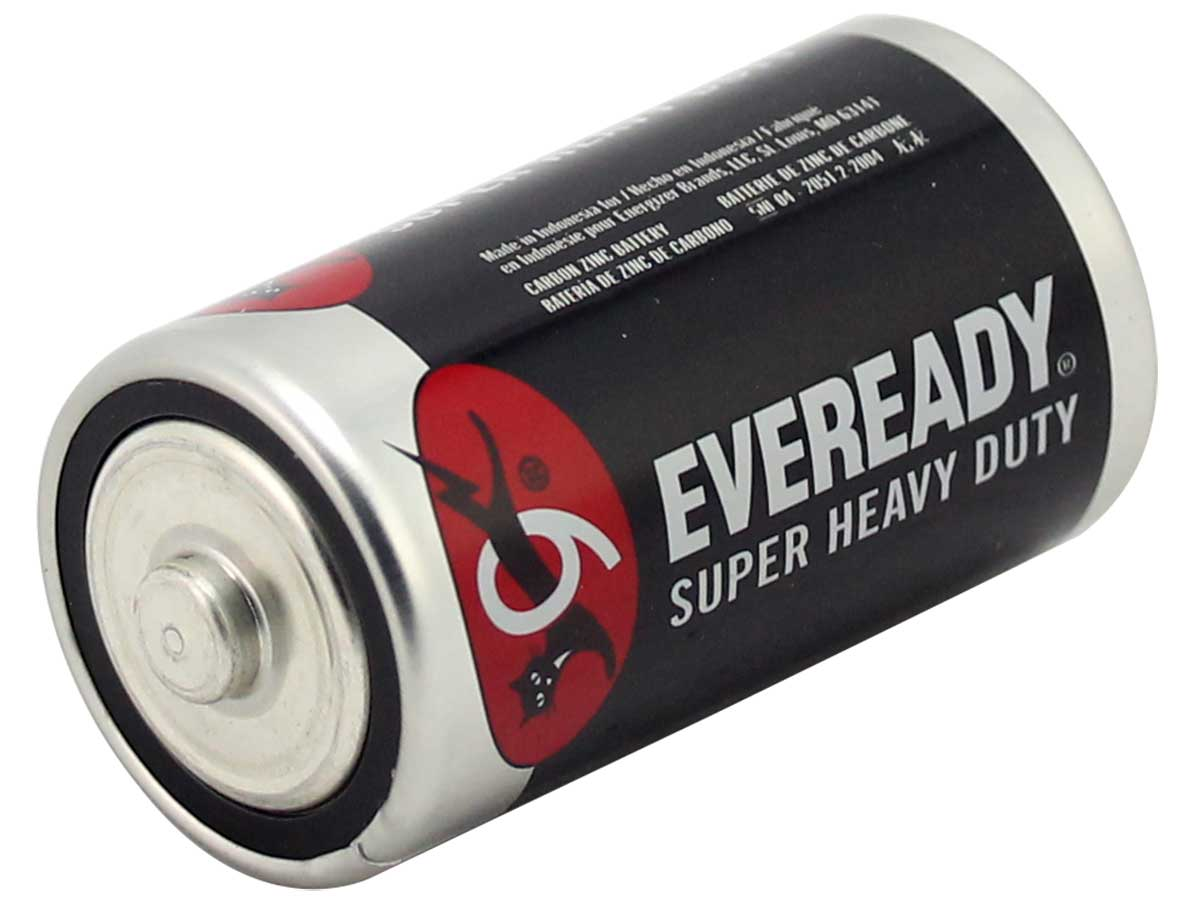 Energizer Eveready Super Heavy Duty 1250 D-cell 8000mAh 1.5V Zinc Carbon Button Top Batteries - Bulk