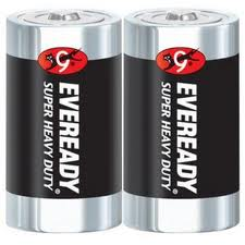 Energizer Eveready Super Heavy Duty 1250-SW-2 D-cell 8000mAh 1.5V Zinc Carbon Button Top Batteries - 2 Piece Retail Card