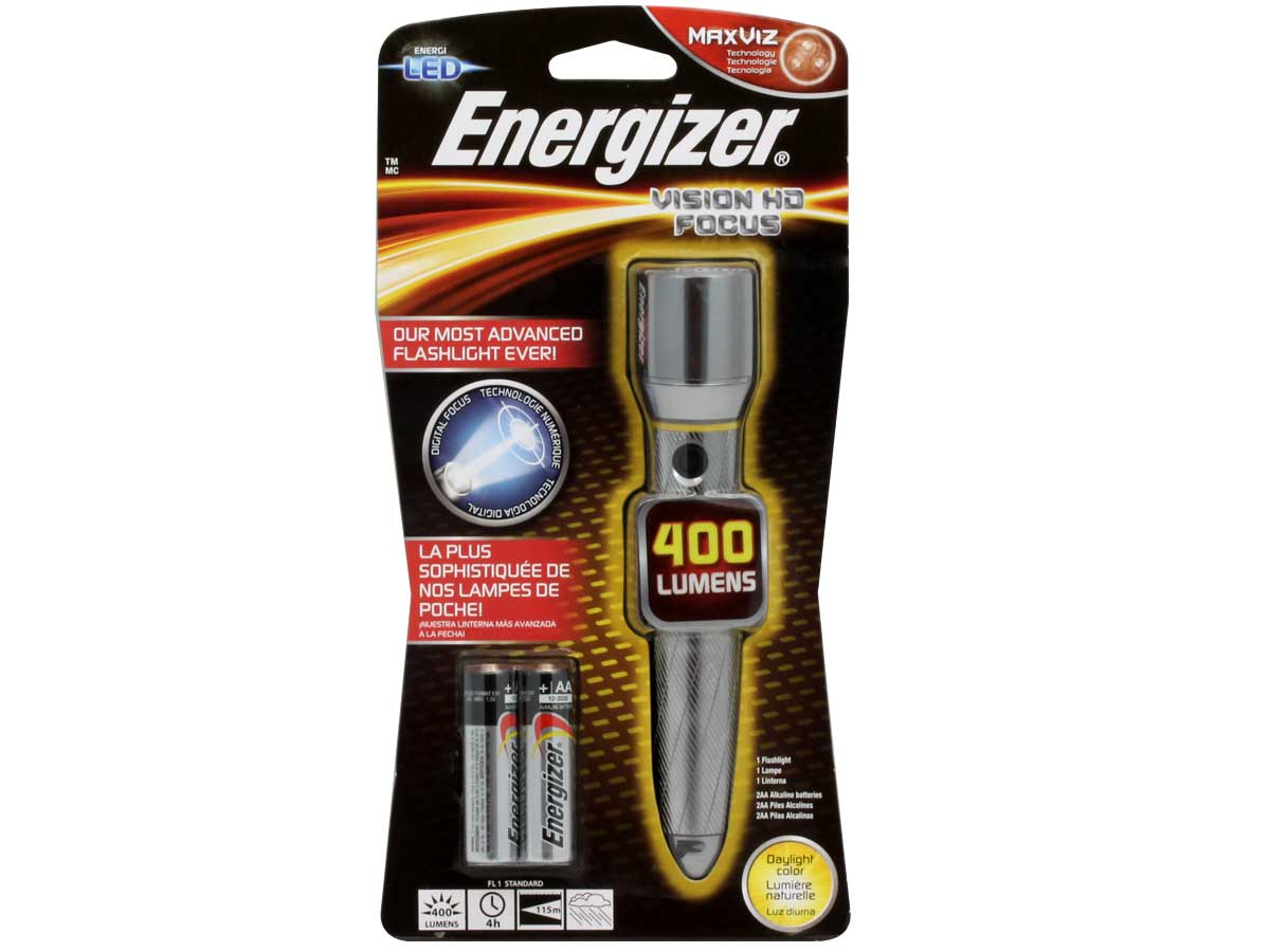 Energizer EMPZH21E Performance Metal LED Flashlight - 400 Lumens - Includes 2 x AA
