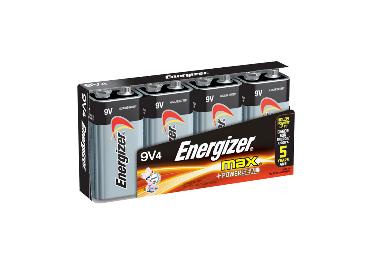 Energizer Max 522-BP-4 9V Alkaline Battery with Snap Connector - 4 Piece Retail Card