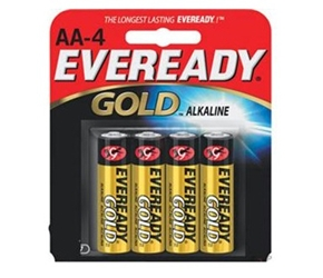 Energizer Eveready Gold A91-BP-4 AA 1.5V Alkaline Button Top Batteries - 4 Piece Retail Card