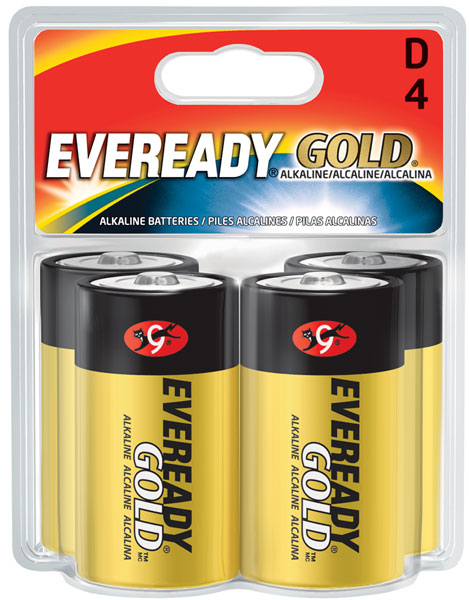 Energizer Eveready Gold A95-BP-4 D-cell 1.5V Alkaline Button Top Batteries - 4 Piece Retail Card