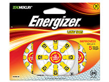 Energizer EZ Turn & Lock AZ10-DP-24 Size 10 91mAh 1.4V Zinc Air Hearing Aid Batteries - 24 Count Blister Pack - Mercury Free