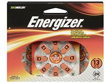 Energizer EZ Turn & Lock AZ13-DP-24 Size 13 280mAh 1.4V Zinc Air Hearing Aid Batteries - 24 Count Blister Pack - Mercury Free