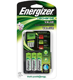 Energizer 4 Bay Value Charger for AA or AAA NiMH Batteries - Includes 4 x AA NiMH Batteries (CHVCMWB-4)