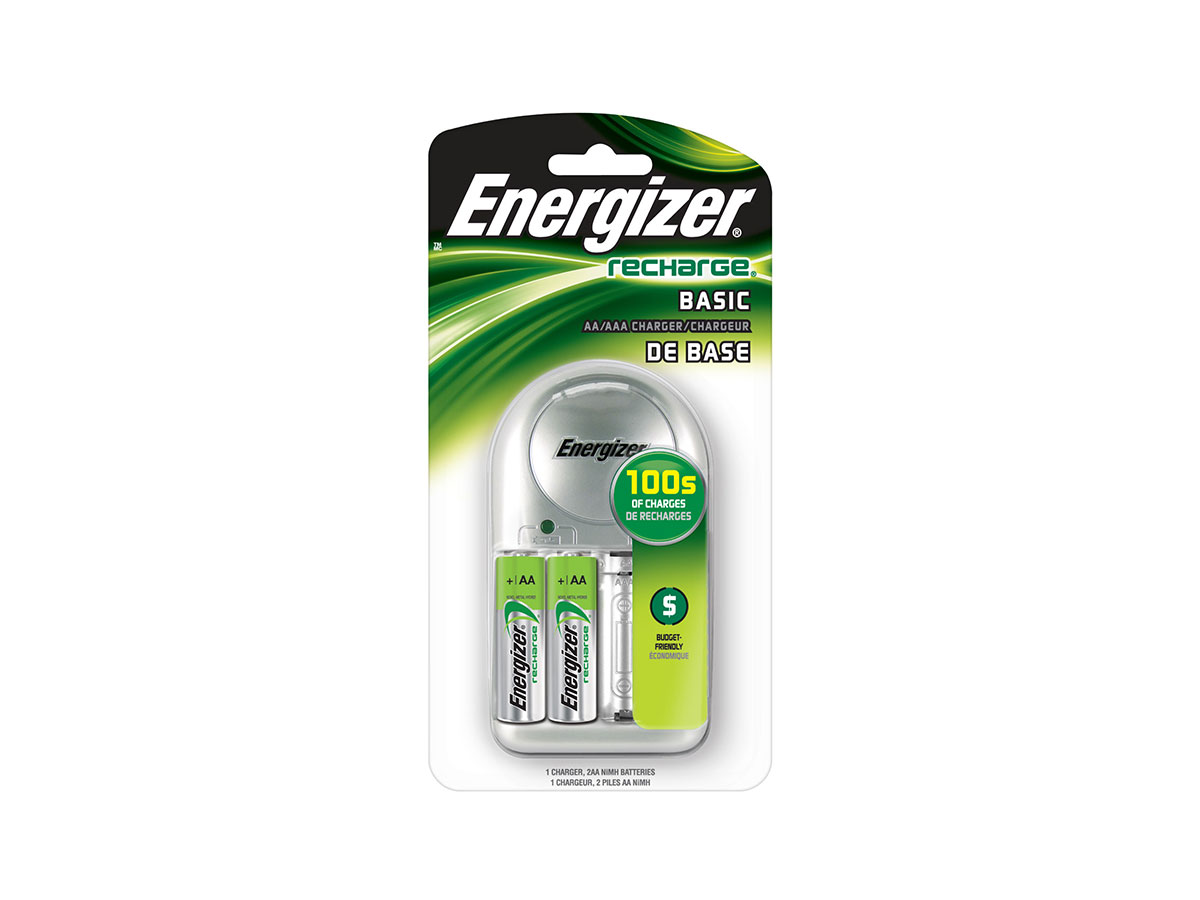 Energizer 4 Bay Value Charger for AA or AAA NiMH Batteries - Includes 2 x AA NiMH Batteries (CHVCWB2 )
