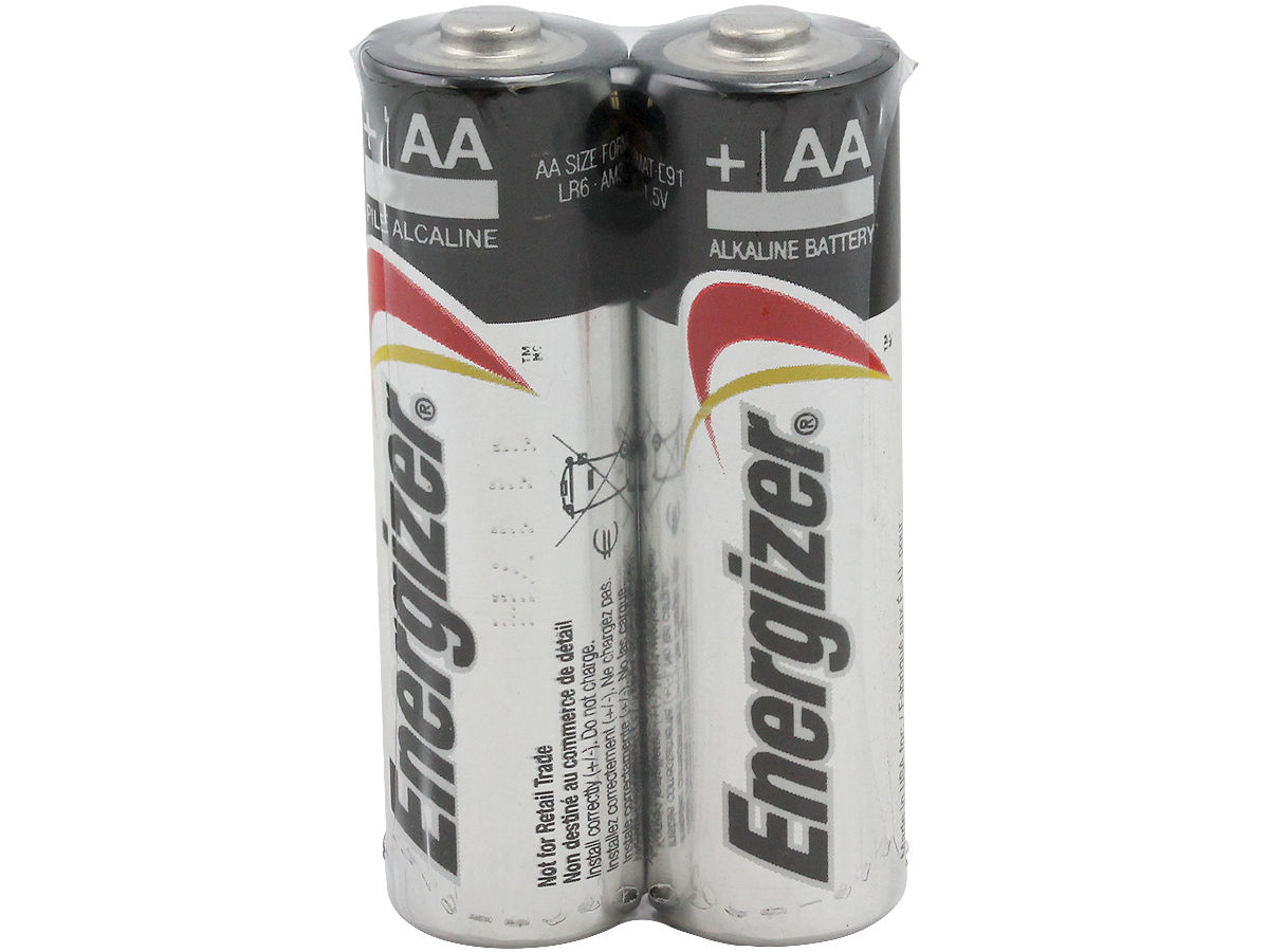 Energizer Max E91 (2SHK) AA 1.5V Alkaline Button Top Batteries - 2 Pack Shrink Wrap